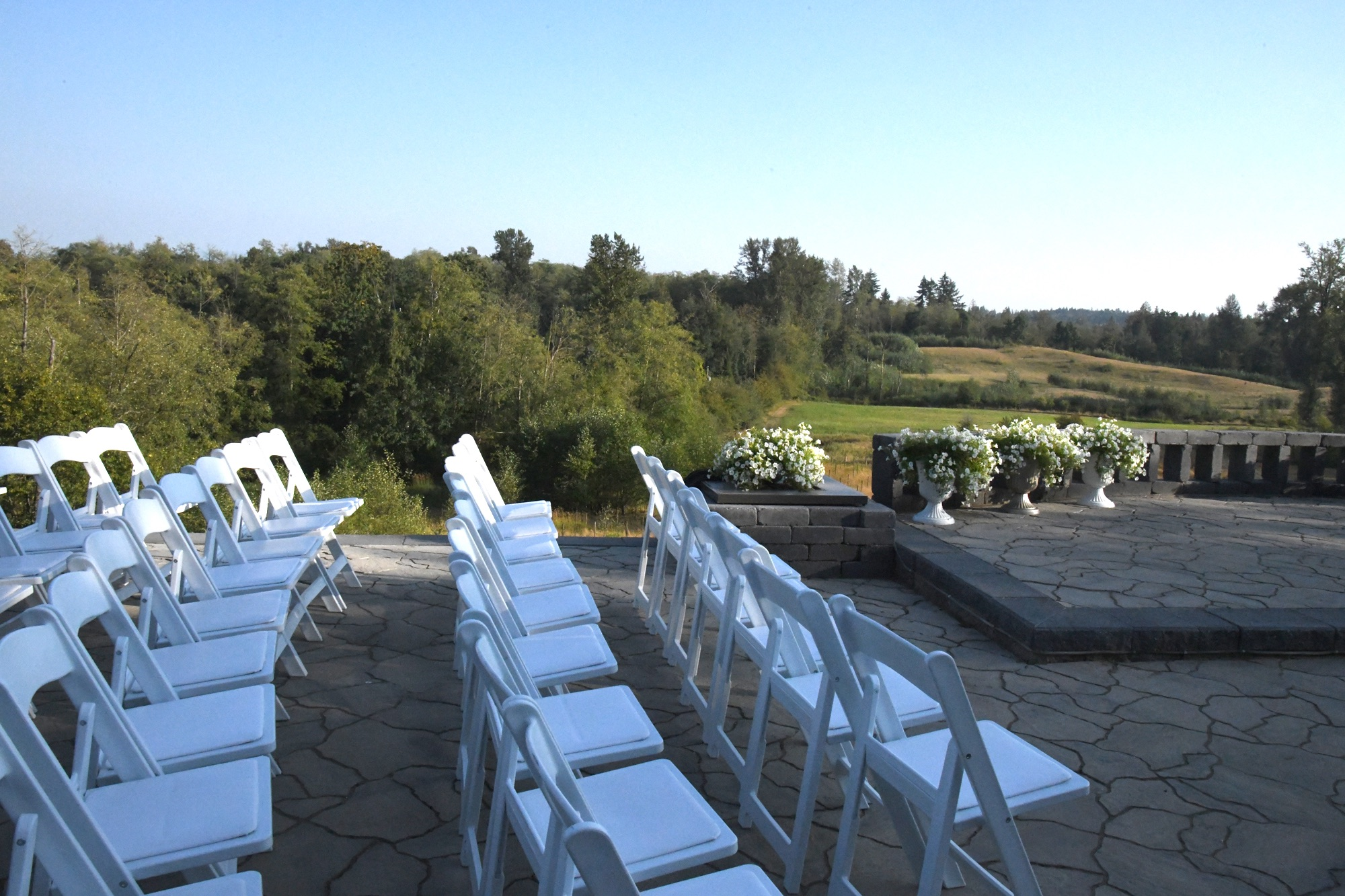 wedding views from the patio at Blackwood Lane